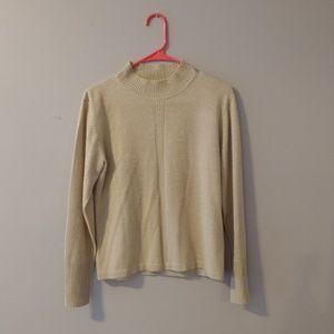 Dress Barn Gold Metallic Sweater Medium Mock Neck
